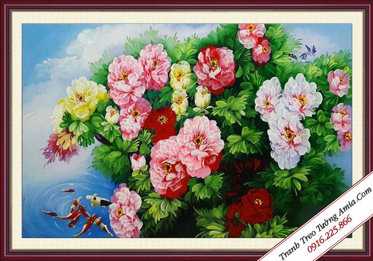 tranh treo tuong hoa mau don ca chep
