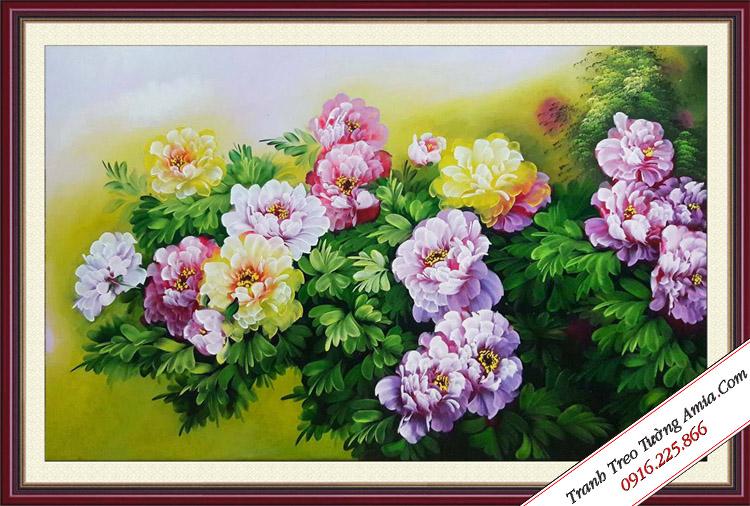 tranh hoa mau don treo tuong ve son dau