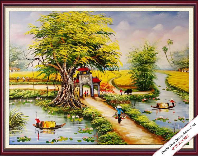 tranh ve son dau phong canh lang que viet nam