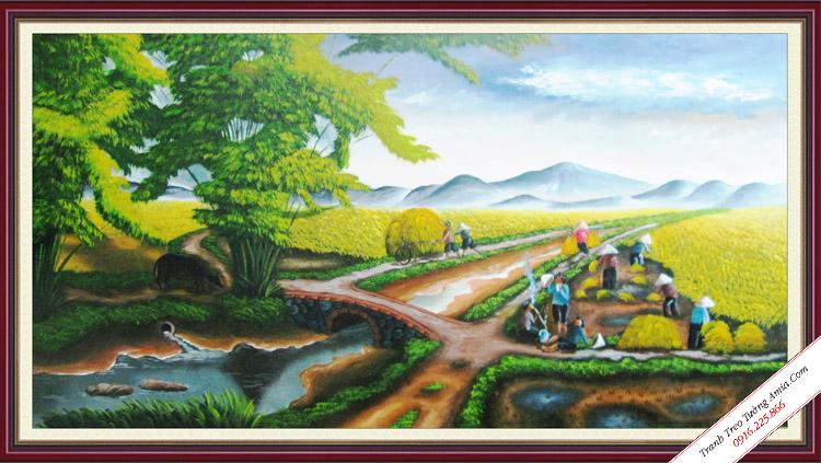 tranh phong canh mua gat lua que huong viet nam