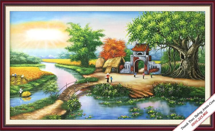 tranh mung ngay 20-11 phong canh que huong