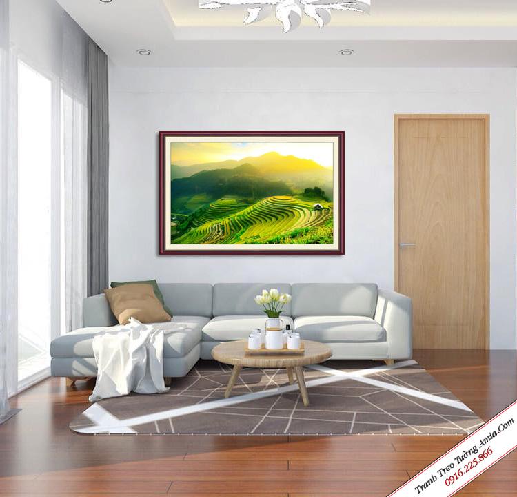 tranh phong canh ruong bac thang treo tuong phong khach dep