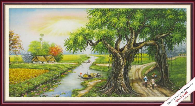 tranh son dau phong canh cay da que huong