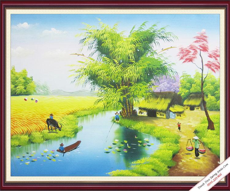 tranh treo tuong phong canh que huong