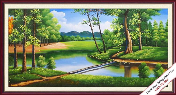 tranh ve khu rung xanh phong canh nuoc ngoai