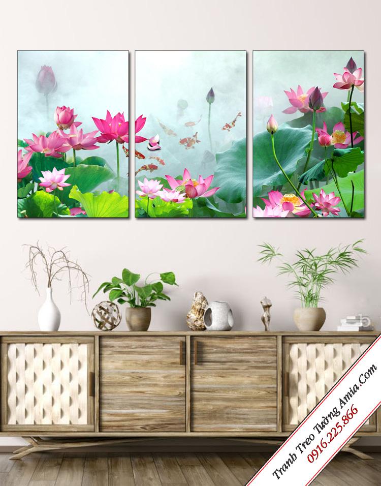 bo tranh hoa sen trong som mai treo tuong