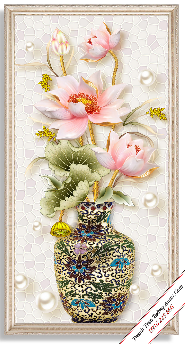 tranh binh hoa sen co in gia 3d cuc dep