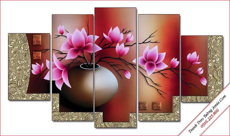 tranh phong thuy binh hoa sen dat