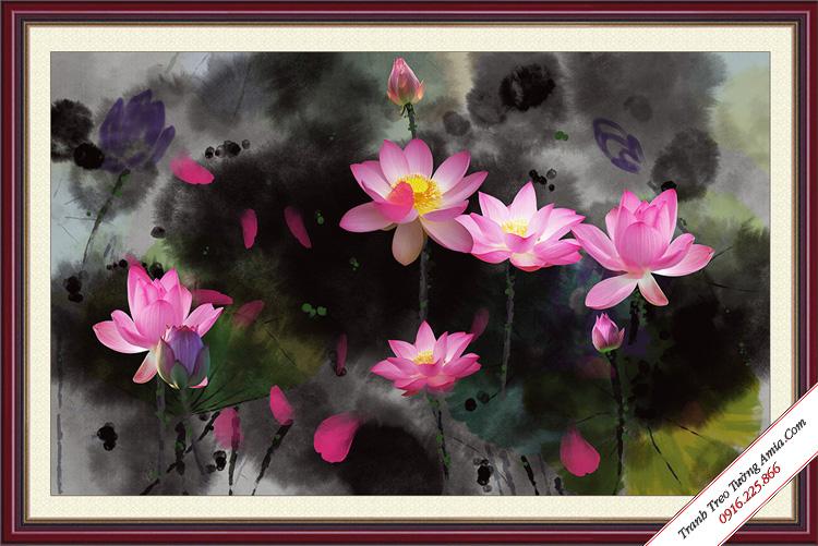 tranh treo tuong dam hoa sen