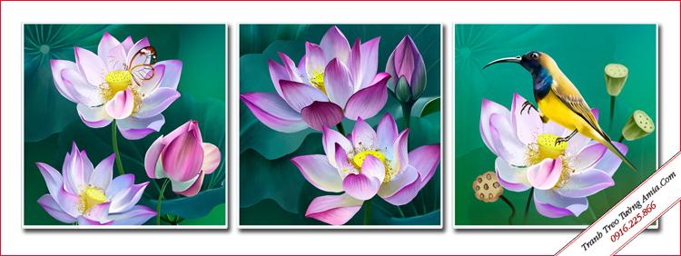 tranh trang tri phong khach dep hoa sen