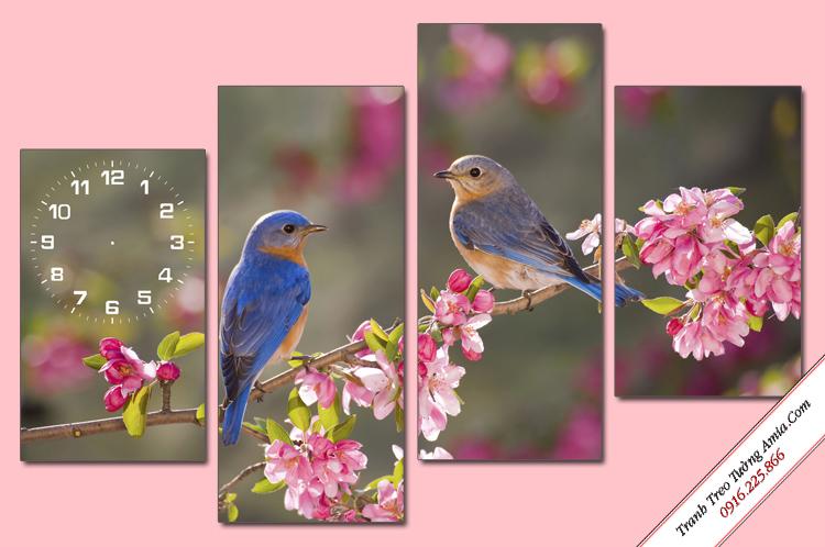 qua tang ky niem ngay cuoi tranh doi chim tren nhanh hoa