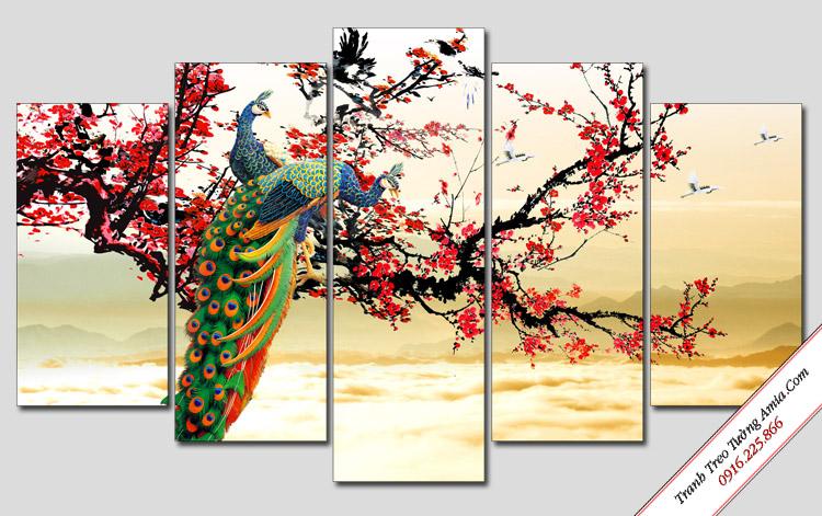 tranh phong thuy hoa dao va chim cong