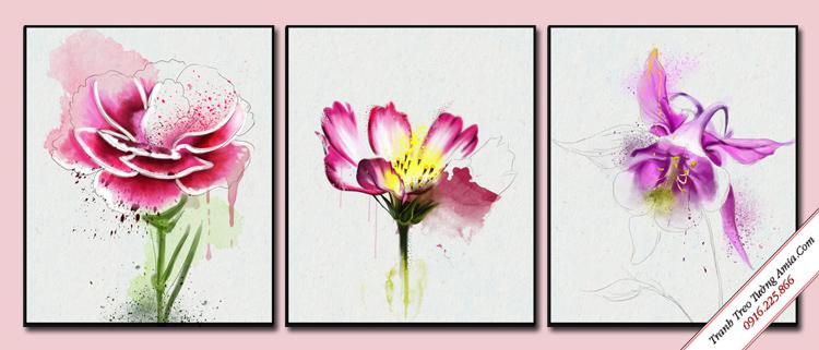 tranh treo tuong bo 3 tam hoa dep nghe thuat