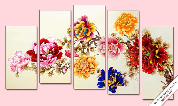 tranh hoa mau don phong thuy treo tuong