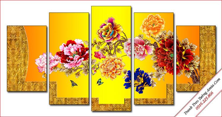 tranh phong thuy hoa mau don ghep bo