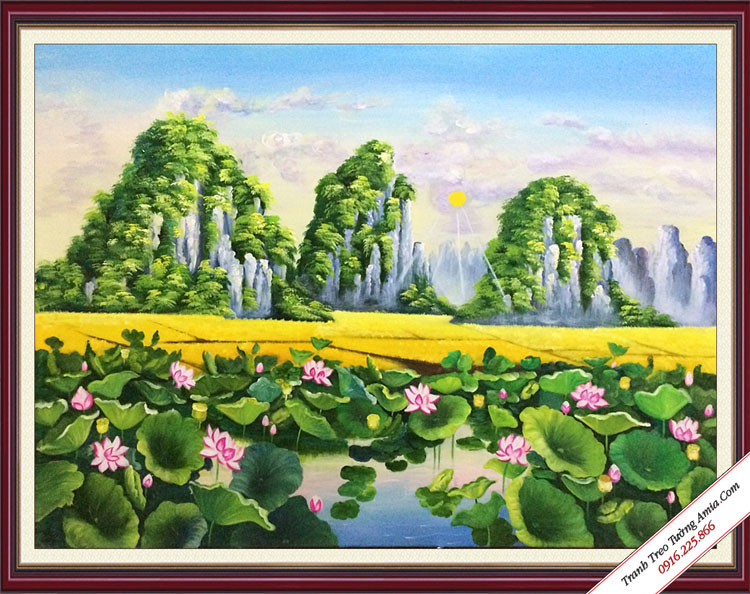 tranh son dau phong canh dam hoa sen
