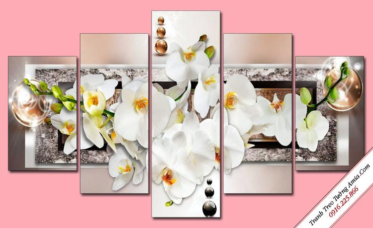 tranh treo tuong hoa lan trang dep ghep bo