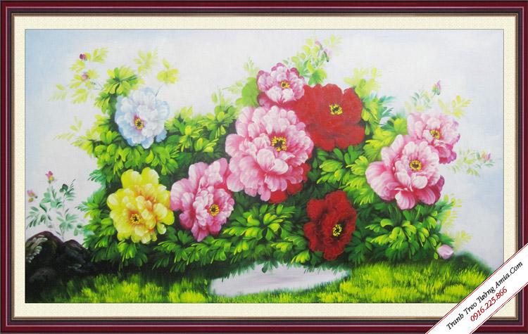 tranh dep 9 bong hoa mau don ve son dau