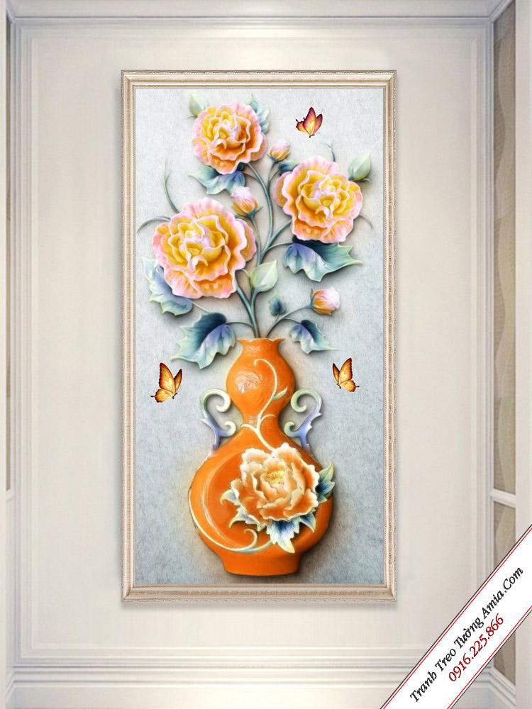 tranh binh hoa mau don in 3d noi