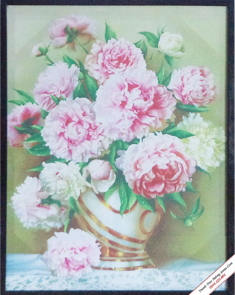 tranh binh hoa mau don in vai canvas