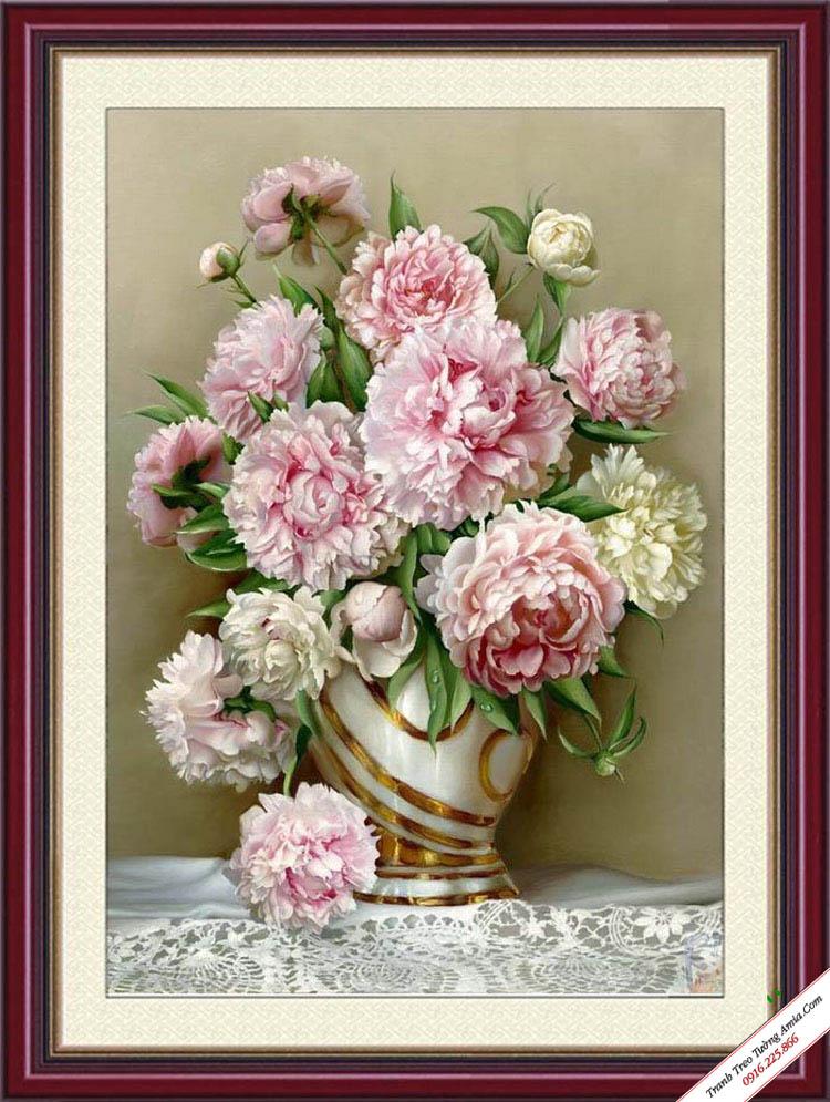 tranh treo tuong nghe thuat binh hoa mau don