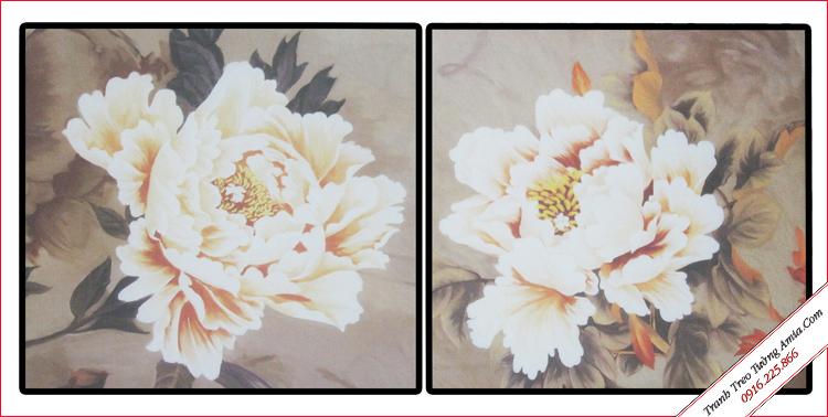 tranh bong hoa mau don in vai canvas