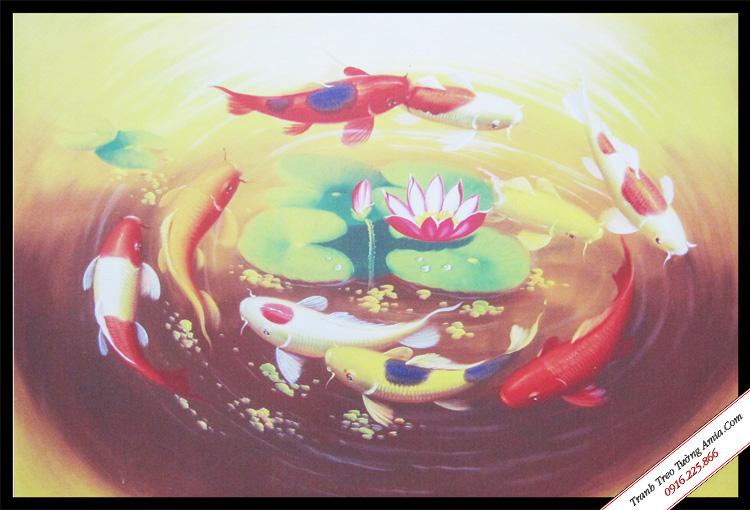 tranh ca chep hoa rong in vai canvas