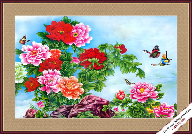 tranh nhanh hoa mau don sac mau in canvas