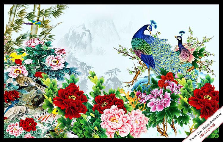 tranh chim cong va hoa mau don dep