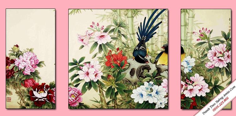 tranh hoa mau don va doi chim dep