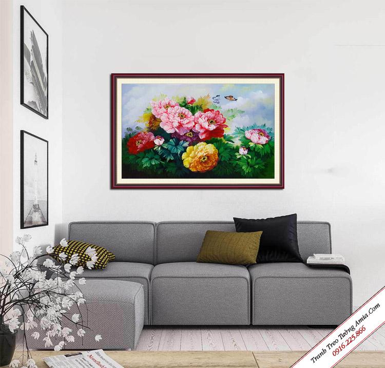 tranh dep treo phong khach hoa mau don