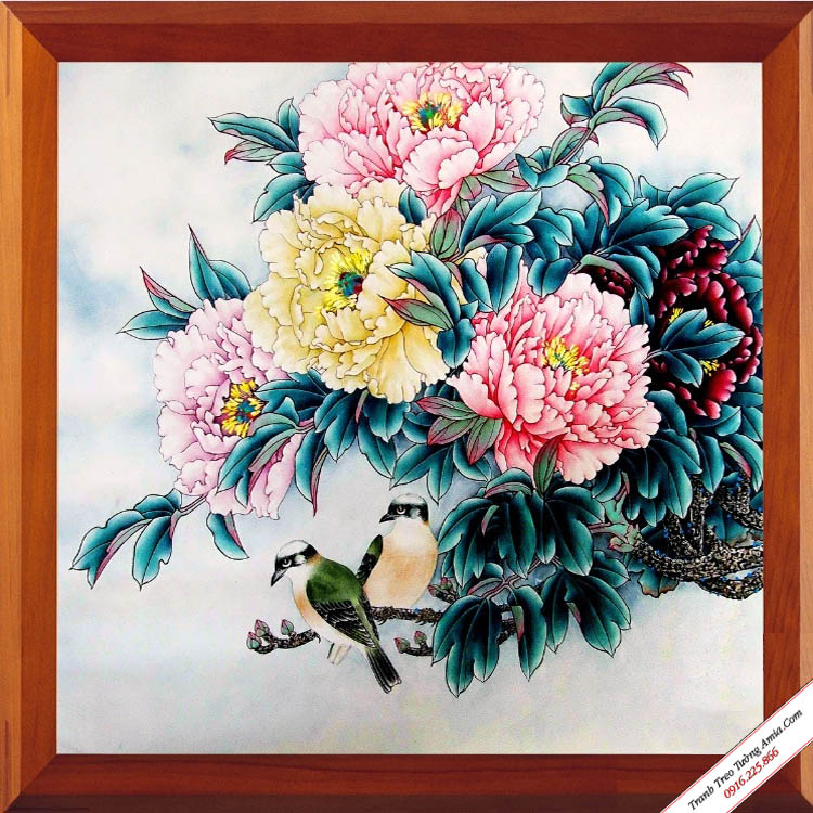 tranh kho mot tam doi chim va hoa mau don