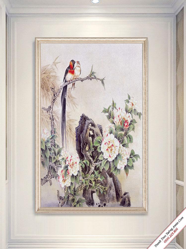 tranh doi chim va hoa mau don tren da treo tuong