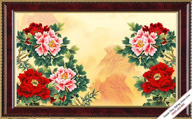 tranh treo tuong hoa mau don 8 bong