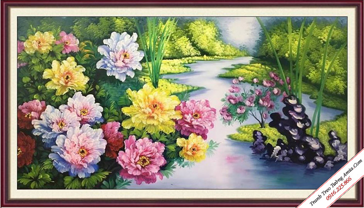 tranh treo tuong hoa mau don ben bo suoi