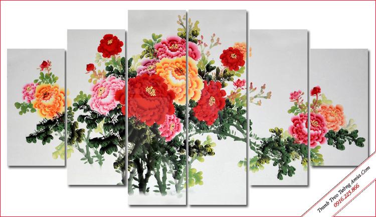 tranh ghep bo 5 tam hoa mau don dep