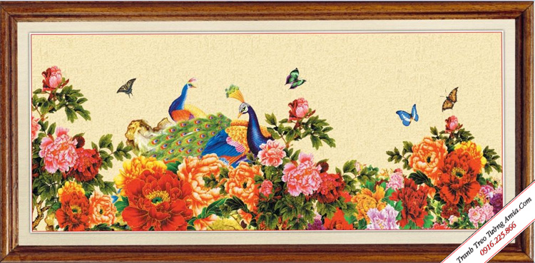 tranh treo tuong kho lon hoa mau don chim cong