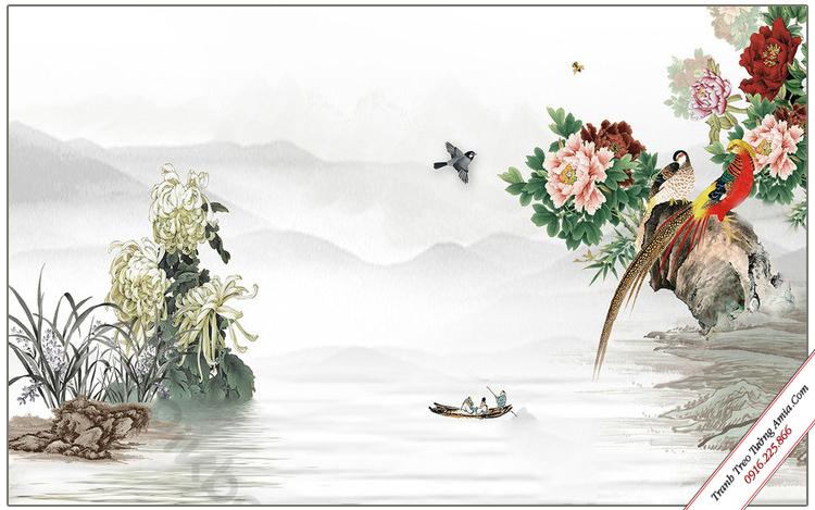 tranh phong canh doi chim tren nhanh hoa mau don