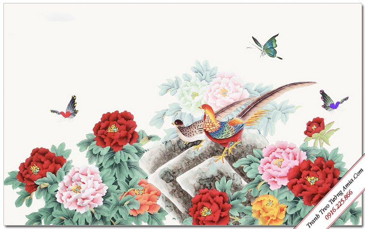 tranh phong canh doi chim trong khom hoa mau don