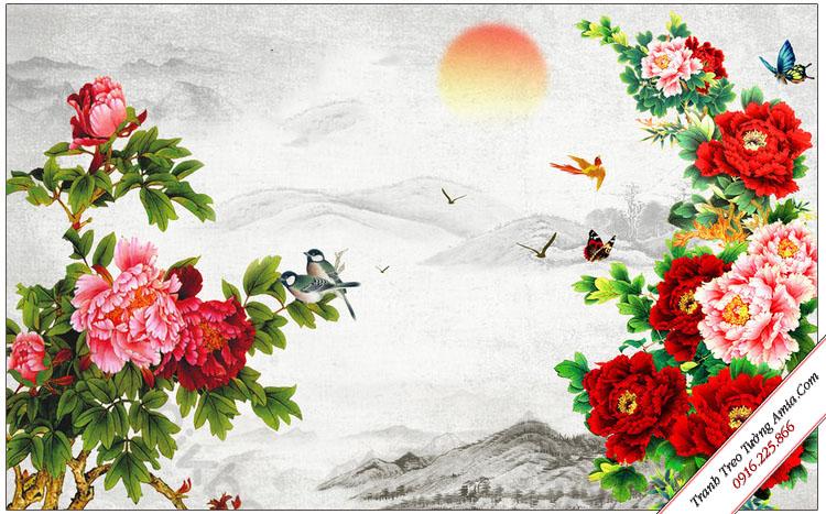 tranh phong canh doi hoa mau don va mat troi ruc ro
