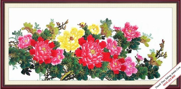 tranh hoa mau don trung quoc phong thuy