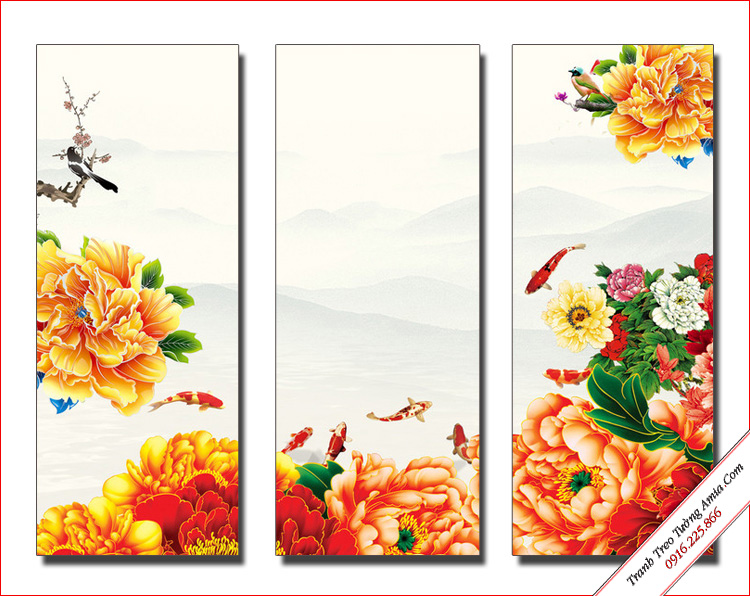 tranh phong thuy hoa mau don vang va ca chep