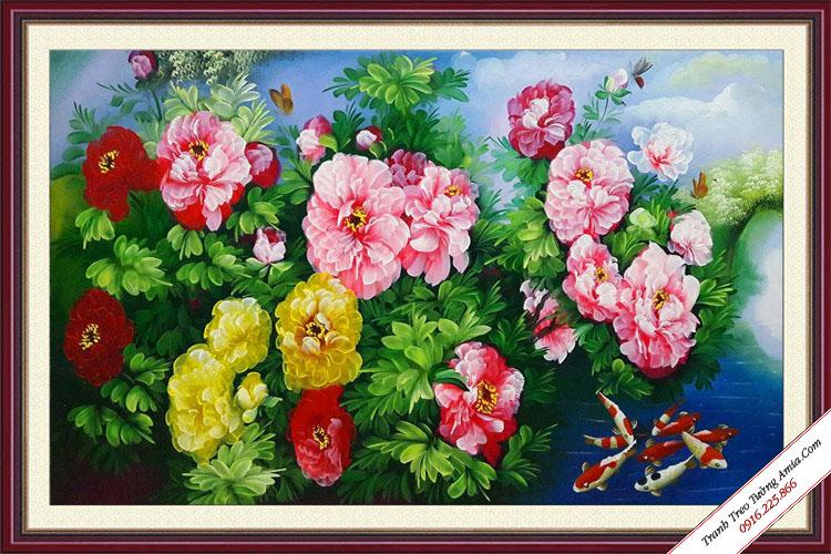 tranh hoa mau don va ca chep