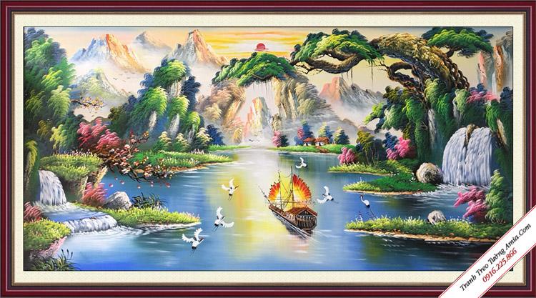 tranh ve son dau phong canh thuan buom xuoi gio