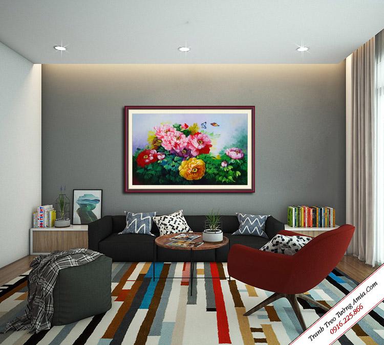 tranh hoa mau don son dau treo phong khach