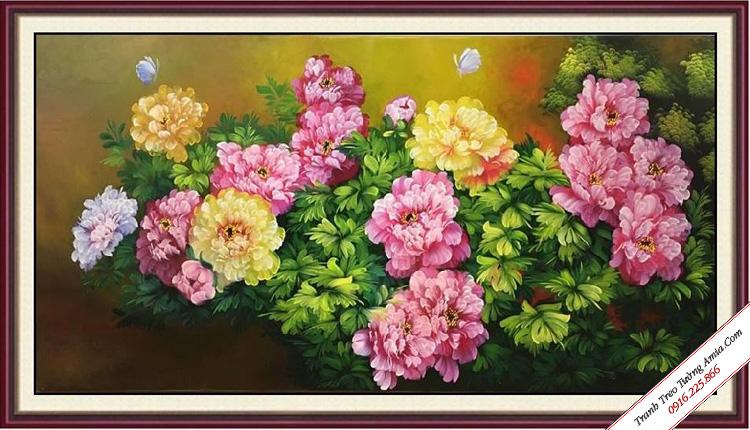 tranh phong thuy son dau ve hoa mau don