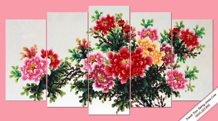 tranh trang tri kho lon hoa mau don