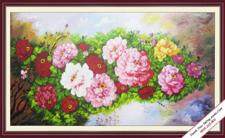 tranh khom hoa mau don sac trang tri phong