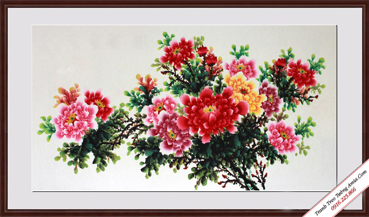 tranh nhanh hoa mau don treo phong khach