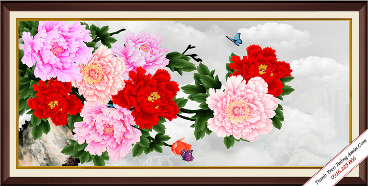 tranh hoa mau don treo tuong hop phong thuy